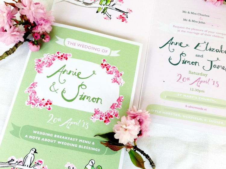 Cherry Blossom bespoke wedding stationery