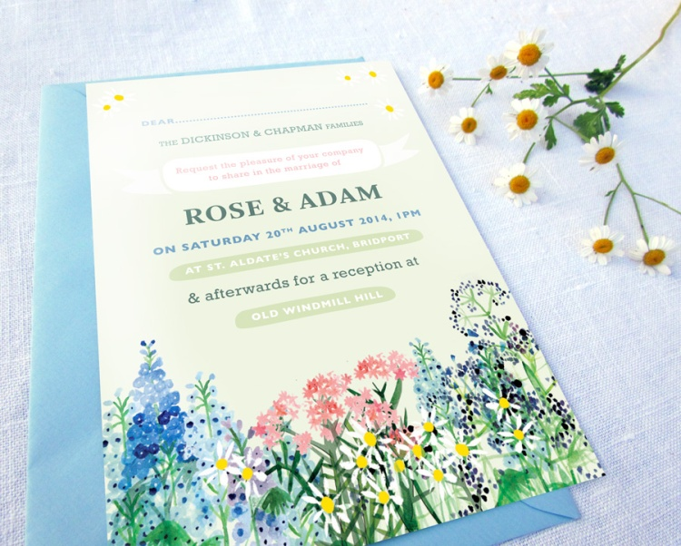 Country Flowers Wedding Invitation