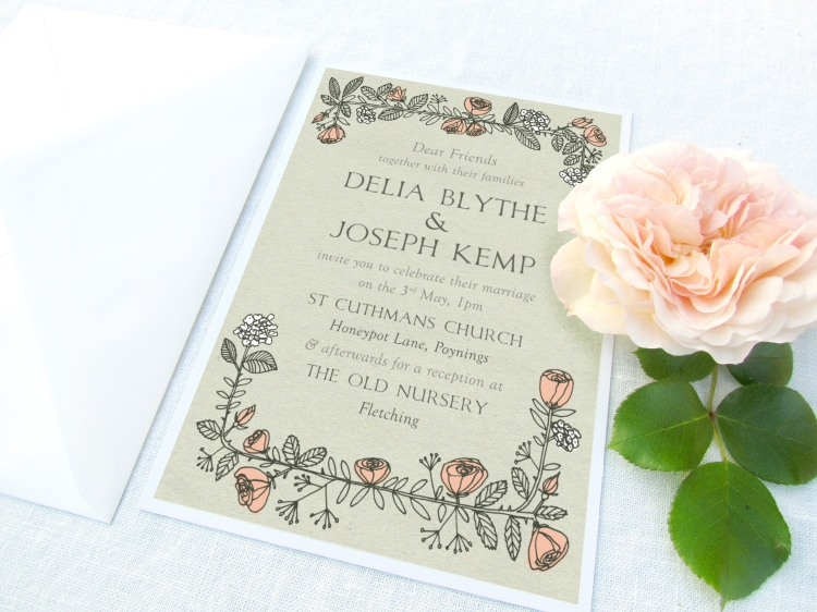 Rose Wreath Wedding Invite